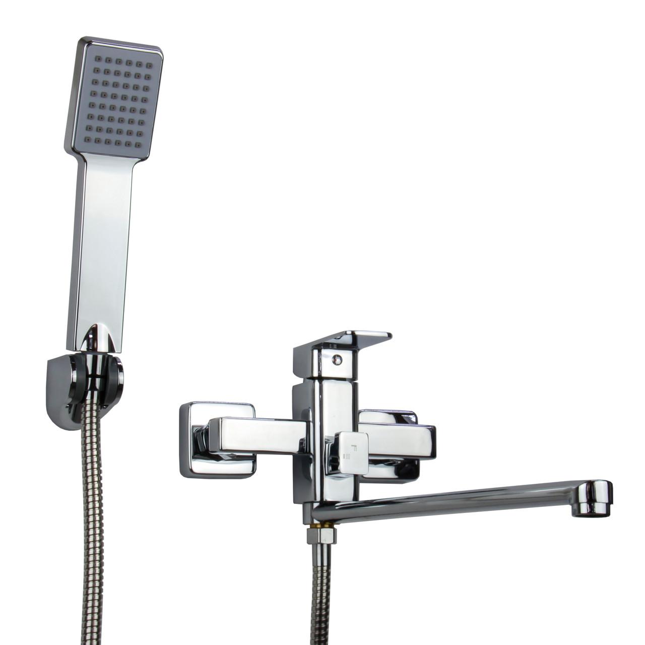 Смеситель для ванны однорычажный хром с длинным гусаком