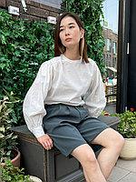 Женская рубашка с объемными рукавами из хлопка