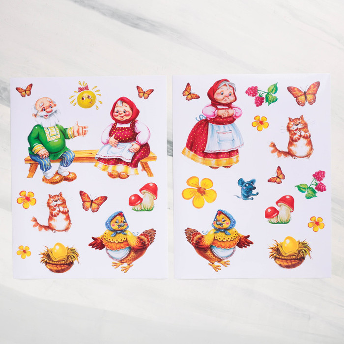 Игра-сказка «Курочка Ряба» с наклейками 30*22см