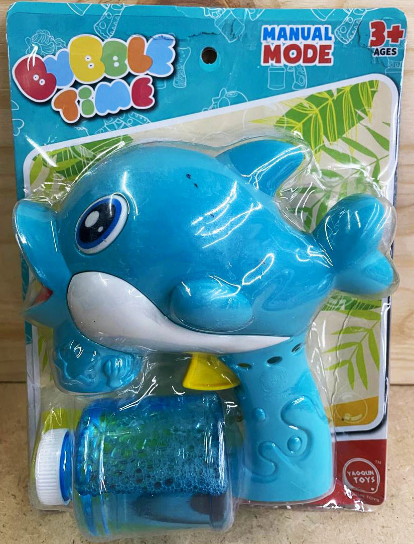 8802 Мыльный пузырь пистолет дельфин  большой (разные цвета,работает от батареек) 29*19см