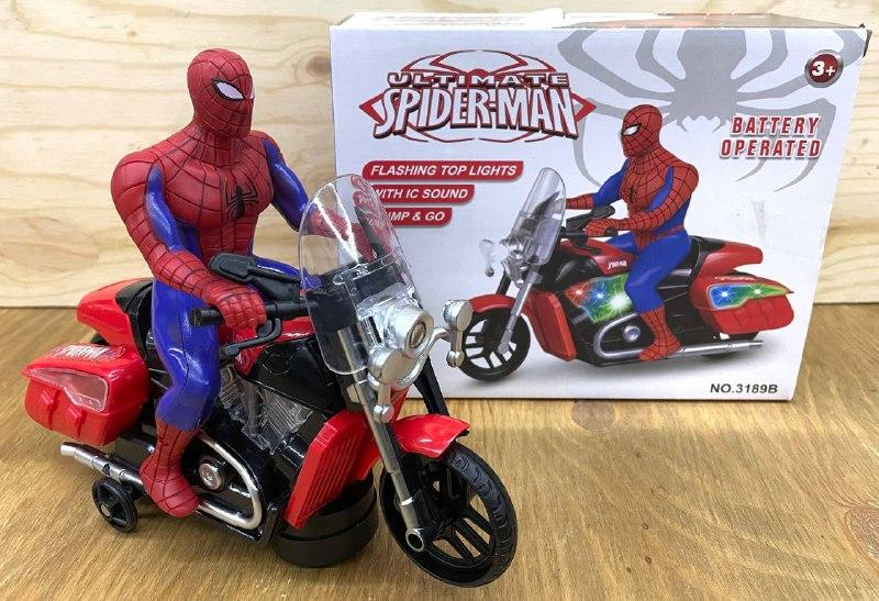 3189B Спайдермен на мотоцикле на батарейках, муз свет движение 20*17см