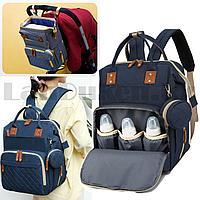 Сумка-рюкзак с термо отсеком с USB входом и шнуром с ремнями для коляски с кошельком на карабине синяя