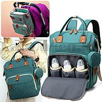 Сумка-рюкзак с термо отсеком с USB входом и шнуром с ремнями для коляски с кошельком на карабине березовая