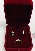 Комплект с изумрудом и бриллиантами / жёлтое золото