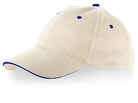 Бейсболка New Castle 6-ти панельная, натуральный/синий