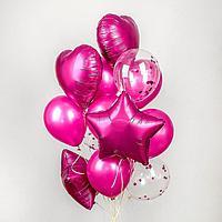 Букет из шаров 'Хром', фольга, латекс, с конфетти, набор 14 шт., цвет розовый