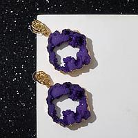 Серьги ассорти 'Натурэль' круг, цвет фиолетовый в золоте