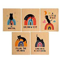 Тетрадь 48 листов в клетку 'Кот и радуга', обложка крафт-картон, блок офсет, МИКС (комплект из 3 шт.)