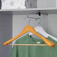 Вешалка-плечики для верхней одежды с перекладиной, размер 48-50, цвет светлое дерево