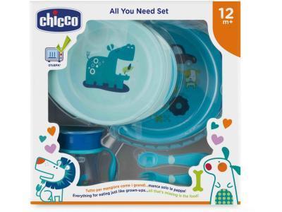 Посуда Chicco Набор детской посуды от 12 месяцев голубой