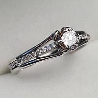 Золотое кольцо с бриллиантами 0.49Сt VVS2/M G-Cut