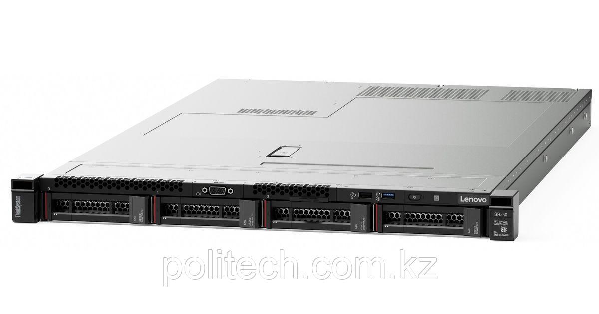 "Сервер Lenovo SR250 Xeon E-2276G (6C 3.8GHz 12MB Cache/80W), 1x16GB, OB, 2.5"" HS (8), SW RAID, HS 45 /"