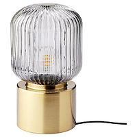 Лампа настольная СОЛКЛИНТ латунь/серое прозрачное стекло 28 см ИКЕА, IKEA