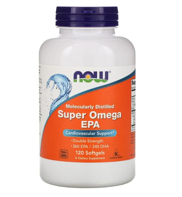 Now Foods, супер омега ЭПК, очищенная на молекулярном уровне, 120 мягких таблеток