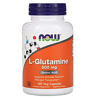 Now Foods, L-глютамин, 500 мг, 120 вегетарианских капсул
