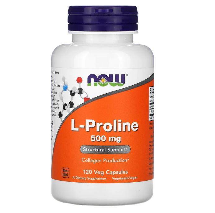 Now Foods, L-пролин, 500 мг, 120 растительных капсул