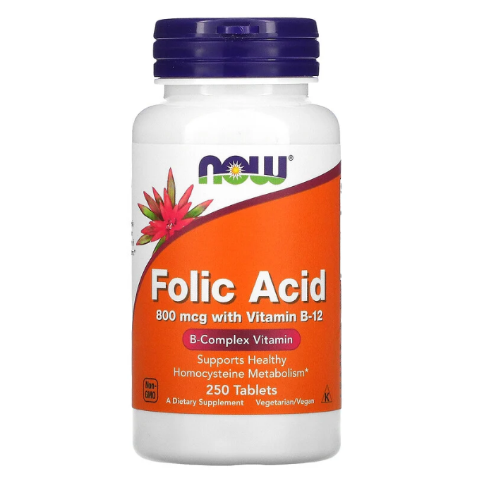 Now Foods, фолиевая кислота, 800 мкг, 250 таблеток