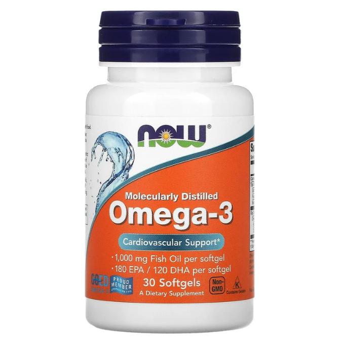 Now Foods, омега-3, очищенная на молекулярном уровне, 30 капсул