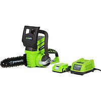 """Аккумуляторная цепная пила GreenWorks G24CS25K2, 24В, 2 Ач, шина 25 см, 40 звеньев, 3/8"""", ЗУ 40191 ..."""