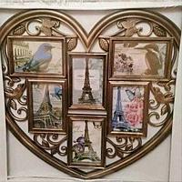 """Фоторамка составная """"Сердце"""" HTA-105M02 [6 фото] (Бронза)"""