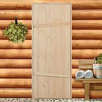 Дверной блок для бани, 190x80см, из сосны, на клиньях, массив, 'Добропаровъ'