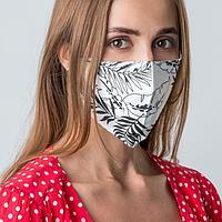 Маска защитная текстильная «Тропики монохром», многоразовая