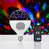 Лампа 'Праздничная', d11 см, 220V, Bluetooth, цоколь Е27, USB, Micro USB, RGB