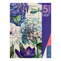 Колледж-тетрадь А5, 128 листов в клетку 'Цветочное настроение', интегральная обложка, выборочный УФ-лак, блок