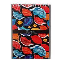 Бизнес-блокнот А5, 48 листов в клетку, на гребне 'Листья', обложка мелованный картон, глиттер, блок офсет