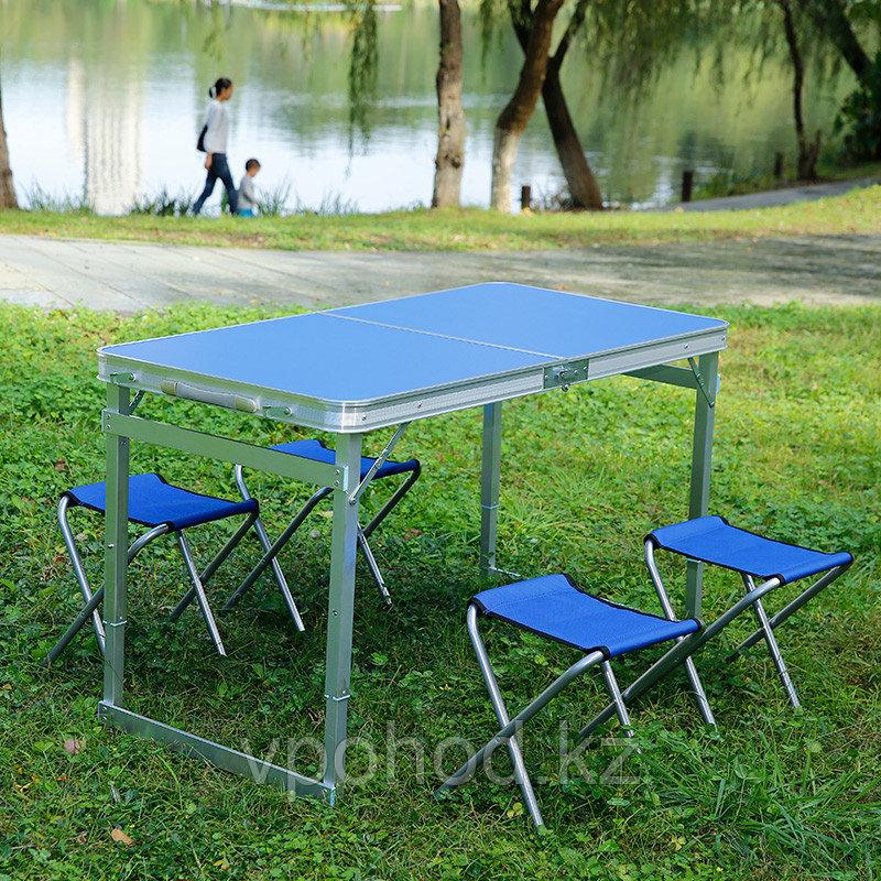 Стол складной уселенный со стульями (60х120 см)