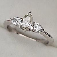 Золотое кольцо с бриллиантами 0.75Сt SI2/I Капля + Капли ( Груши) огранка, фото 1