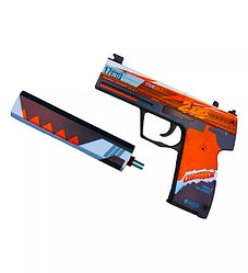 Деревянный пистолет CS GO Резинкострел USP с глушителем, 2 years red