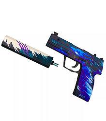 Деревянный пистолет CS GO Резинкострел USP гненезис с глушителем, genesis