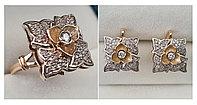 Золотой набор с бриллиантами 1.05 Ct VS2/G-H Ex- Cut, фото 1