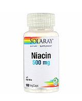 Ниацин, 500 мг, 100 капсул.Solaray