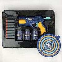 №14520 Бластер-пистолет Shoot gun c мягкими патронами и 3 банками-мишенями