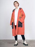 Женский кардиган с капюшоном из денима Кирпичный