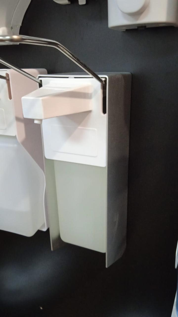 Локтевой дозатор с евроканистрой для жидкого мыла и антисептика алюминиевый корпус