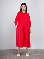 Льняное платье с V-образным вырезом Красный