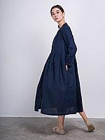 Льняное платье с V-образным вырезом Синий