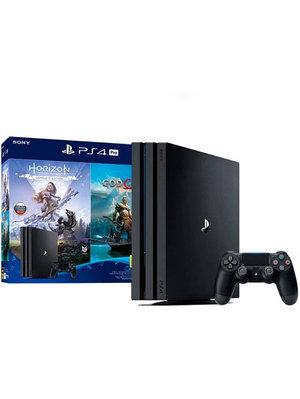 Игровая приставка Sony PlayStation 4 Pro 1TB черный + God Of War + Horizon Zero Dawn CE