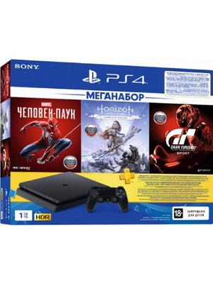 Игровая приставка Sony PlayStation 4 Slim 1TB черный + Gran Turismo Sport + Spider Man + Horizon Zero Dawn