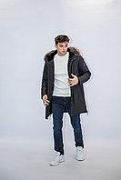 Куртка мужская зимняя Vivacana черная, натуральный мех на воротнике