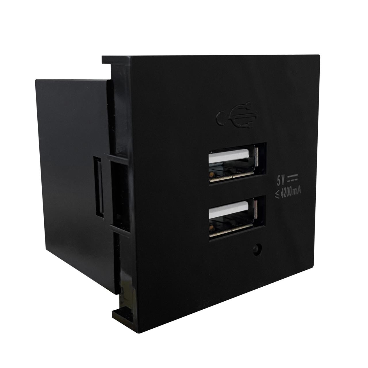 Shelbi Розетка зарядка 2- портовая USB, 4.2A, 45х45, чёрная