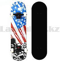 Скейтборды подростковые с узором в нижней части деки 79х19 см с Американским флагом