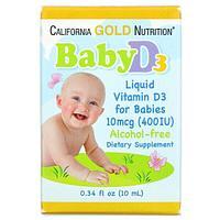 California Gold Nutrition, жидкий витамин D3 для детей, 10 мкг (400 МЕ), 10 мл (0,34 жидк. унции)