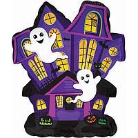 Шар фольгированный 12'' мини-фигура 'Дом с привидениями' 1 шт. (комплект из 5 шт.)