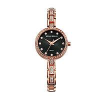 Часы наручные женские 'Михаил Москвин', чёрный циферблат, золотистый браслет, 577-8-6