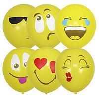 """Шар латексный 12"""" «Эмоции, смайл», 1-сторонний, пастель, набор 5 шт., цвет жёлтый, виды МИКС"""
