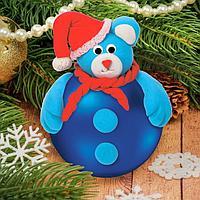 Новогодний ёлочный шар с массой для лепки 'Мишка'